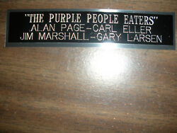 The Purple People Eaters Vikings Engraved Nameplate For Photo/display/poster
