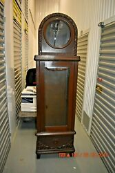 Antique Vintage German Grandfather Clock Cabinet Only For Project