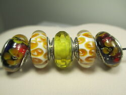 5 Pandora Silver 925 Ale Golden Yellow Flowers Leopard Glass Murano Beads Charms