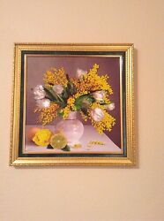 Beaded Embroidery On Silk Mimosa Handmade Size 13x13 Inches