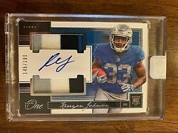 2018 Panini One Lions Kerryon Johnson Rc 62 Rpa - Dual Patch On Card Auto /199