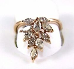 Long Marquise Diamond Cluster Ladyand039s Cocktail Ring 14k White Gold 1.67ct