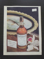 Old Forester Kentucky Bourbon Whiskey, 1945 Print Ad - Bottle And Fish Plate