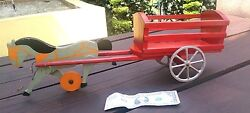 1930´s Antique Primitive Wood Horse With Red Wagon Metal Wheels Pull Toy