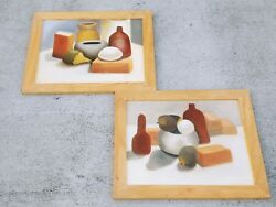 Oil Painting Art Framed Set Of 2 Tuscany Italy Stone Jugs Cheese Fruit 19x23❤️j8