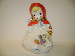 Vintage Hull Little Red Riding Hood Standing Milk Pitcher With Flower Decals