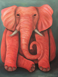 Pink Elephant Lucky Luck Tusk Surreal Rose Asian African Dumbo Blue Wild Unique