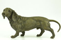 Basset Hound Bloodhound Puppy Dog Pure Bronze Sculpture Figurine on Marble Base