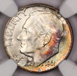 1961-d Roosevelt Dime Ngc Ms65 Ft Rainbow Toned Colorful Toning 12d