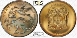 1973-fm Jamaica 25 Cents Pcgs Ms67 Beautiful Color Toned Only 1 Graded Higher