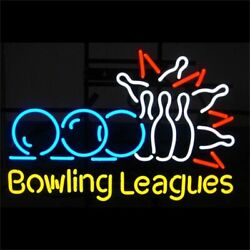 New Bowling Leagues Bar Cub Artwork Real Glass Neon Light Sign 20x16