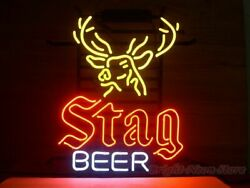 New Stag Beer Deer Bar Cub Decor Artwork Real Glass Neon Light Sign 20x16