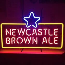 New Newcastle Brown Ale Bar Real Glass Neon Light Sign 20x16