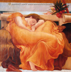 Flaming June, Leighton, Reproduction In Oil On Canvas, 48x48