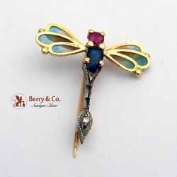 Amazing Dragonfly Brooch Pin Plique A Jour Wings 18k Gold Ruby Sapphire Diamond