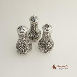 Repousse Three Shakers 59a Sterling Silver Kirk And Son 1940