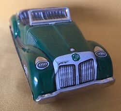 Vintage Car Toy Tin Friction Litho Mg Convertible English Roadster Japan 1950s