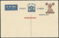 Proof On Buff Post Card Kgvi Airmail Apc 3 India Postal Stationery Pc Inde