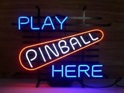 New Pinball Play Here Bar Cub Party Light Lamp Wall Home Decor Neon Sign 17x14