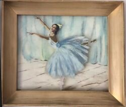 Antique Impressionist Ballerina Dancers Paintings Oil On Glass Signed Lightening