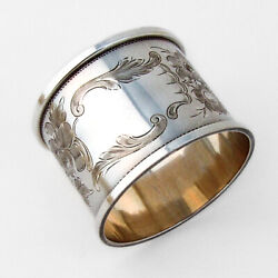 Large Napkin Ring Rose Engraved Decorations 830 Silver