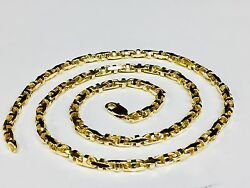 10k Solid Yellow Gold Anchor Mariner Bullet Link Chain Necklace 4mm 48 Grams 28