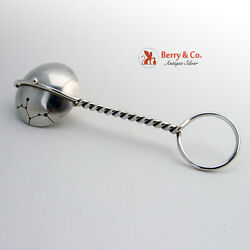 Baby Rattle Spinning Sagittarius Dutch Sterling Silver Wire Handle