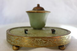 Chinese Carved Hardstone Celadon Serpentine Pen Stand And Inkwell Jade Bronze Bras