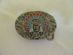 Rare Vintage Ssi Native American Indian Chief Belt Buckle Inlaid Turquoise Coral