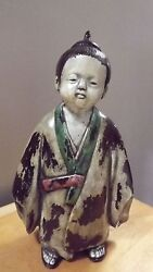 Cast Iron Japan Japanese Rare Antique Boy / Man Figurine Nice