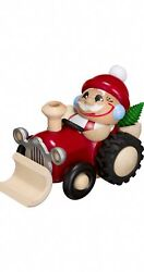 German Incense Smoker Santa Claus On Tractor, Height 11 Cm / 4 In.. Sv 19170 New
