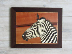 Zebra Wood Wall Decor African Animal Art Marquetry Wood Mosaic Inlay Picture