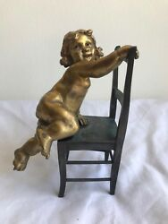 French 19th Century Bronze Naughty Child Signed Sculpture