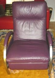 Design Institute of America Chrome Lounge Chair Purple Leather  PICK UP ONLY