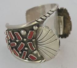 Huge Old Native American, Zuni Coral Nuggets Sterling Watch Band- Mike Saiz