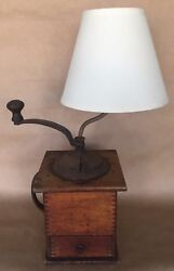Antique Coffee Grinder And Lamp Imperial Arcade Cast Iron Wood