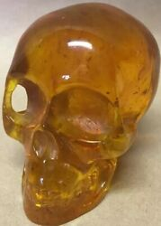 Antique Skull Sculpture Honey Amber Hand Carving Imperial Russian One Piece