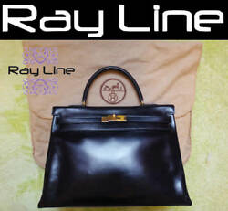 HERMES Bag Kelly 35 Tote Black (Used) Box calfskin Woman  100% authentic Mint