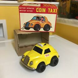 Vintage, Tin, B/o Mystery Action Daiya Coin Taxi Working With It's Original Box