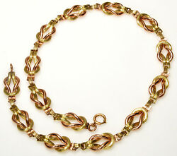 Antique Victorian Yellow And Rose Gf Love Knot Textured Link Necklace