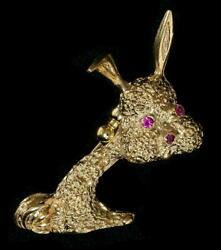 Vintage Rare Signed Crosby 14kt Rabbit Pendent Brooch Has Ruby Eyes And Nose 4.76g