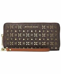 Michael Jet Set Travel Large Travel Continental Wallet Flora perforated Brown $168.99