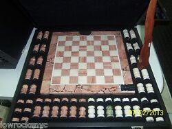 Hand Made Chess Set Dolimite With Case - Piece Of Art - Free Shipping