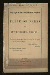 Royal Mail Steam Packet Company Table Of Fares For Intercolonial Voyages 1875