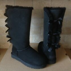 Ugg Triple Triplet Bailey Bow Ii Black Water-resistant Tall Boots Size 8 Womens