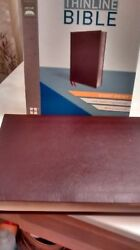 Niv Giant Print Thinline Bible Burgundy Bonded Leather 2011 13 Point Red Letter