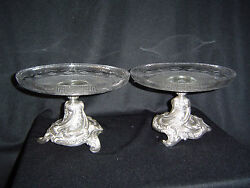 Silver Plated Meridan Tazas With Hand Blown Glass Platelets