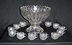 Duncan Miller 42 [mardis Gras] Punch Bowl With 12 Punch Cups
