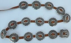 Fine Native American Navajo Sterling Stamp Pierced Concho Belt By Herman Smith