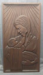 Old Vintage Mid Century Hand Carved Wooden Plaque Nativity Mary And Christ 1960s
